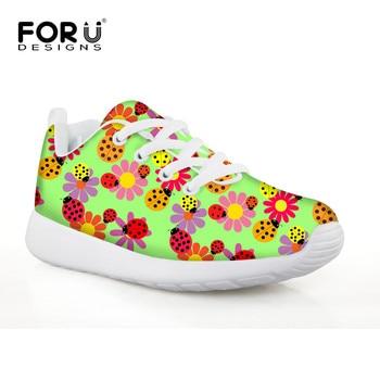 FORUDESIGNS Small Flower Kawaii Girls Tennis Sneakers Flat Lightweight Sports Shoes Sportive Little Kid Chaussure Baskets Enfant