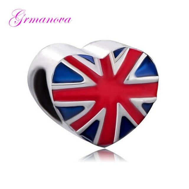 c159d8698 Flag Heart Shaped British Flag Pendant Handmade Charm Bracelet European  Charm Fit Pandora Bracelet Women's DIY Jewelry