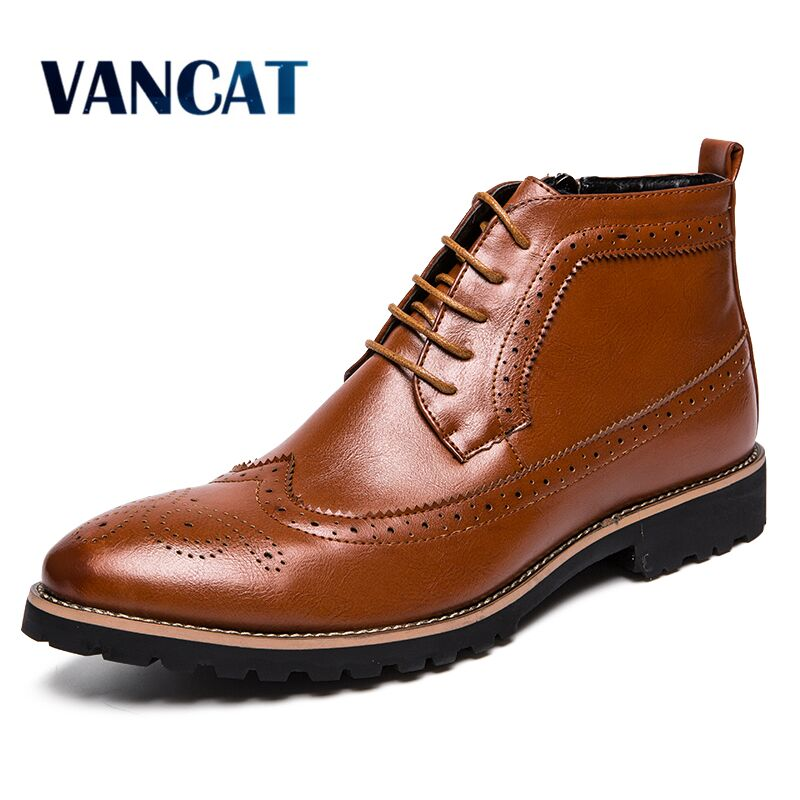 Vancat New Arrival Men Ankle Boots Dress Men's Shoes High Quality Fashion Chelsea Boots Autumn Brogues Soft Leather Casual Shoes Men Shoes Uncategorized