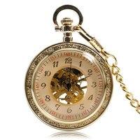 Abierto de la Cara Llena de lujo Oro Esqueleto de la Mano Reloj de Bolsillo Mecánico de La Vendimia Mujeres de Los Hombres Esqueleto Transparente Cadena de Regalo
