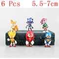 New 6pcs/set 3 inch 7cm sonic the hedgehog Figures toy pvc toy sonic Characters figure toy brinquedos Doll