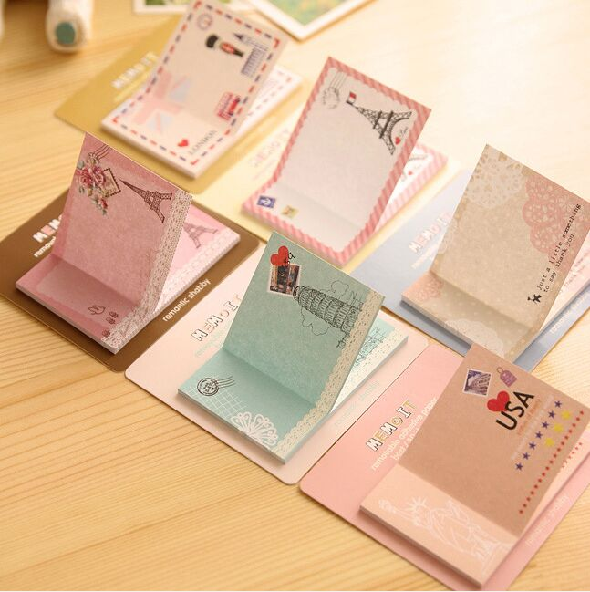 New Western london style Sticky Notes Self-Adhesive Memo Pad Post It Bookmark School Office Supply for student memo gift