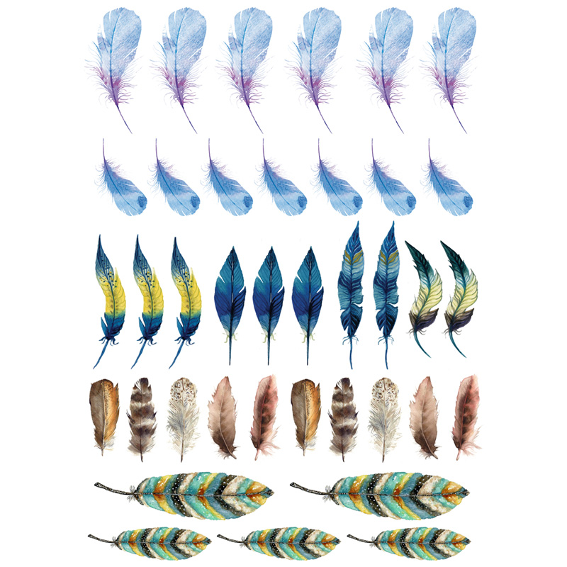 2 pcslot Colorful Feather DIY  Waterproof Paper Sticker Post It Stationery Scrapbook Diary Stickers Agenda Notebook Decoration