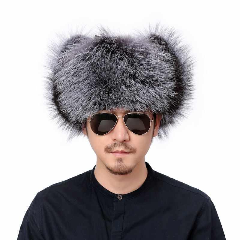 e9c710ffc864a ... Valpeak Winter Bomber Hat Real Natural Fox Fur Hat Russian Hat Ushanka  Men Warm Leather Trapper ...