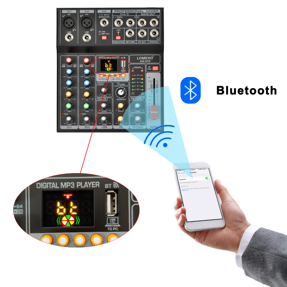 Image 3 - LOMEHO AM G05 Portable Bluetooth USB Play Record 5 Channel PC Playback Guitar 2 Mono 1 Stereo Professional Audio Mixer-in Professional  Audio Recording from Consumer Electronics