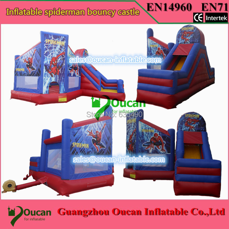 7x4.5x4m PVC tarpaulin inflatable spiderman bouncer with slide for kids, inflatable bouncy castle with blower dhl free shipping inflatable bouncer cute sharks jumper with long slide with blower for kids