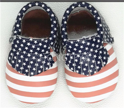wholesale Genuine leather USA flag red sole baby moccasins baby boys girls shoes newborn handmade tassel toddler shoes