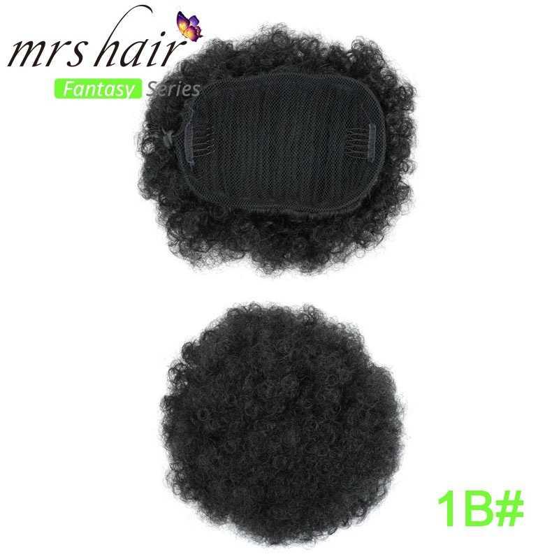 Шиньон штук для черный Для женщин вьющиеся афро хвост Поддельные пучок волос 130g резинки для волос шиньон Cheveux синтетическое волокно