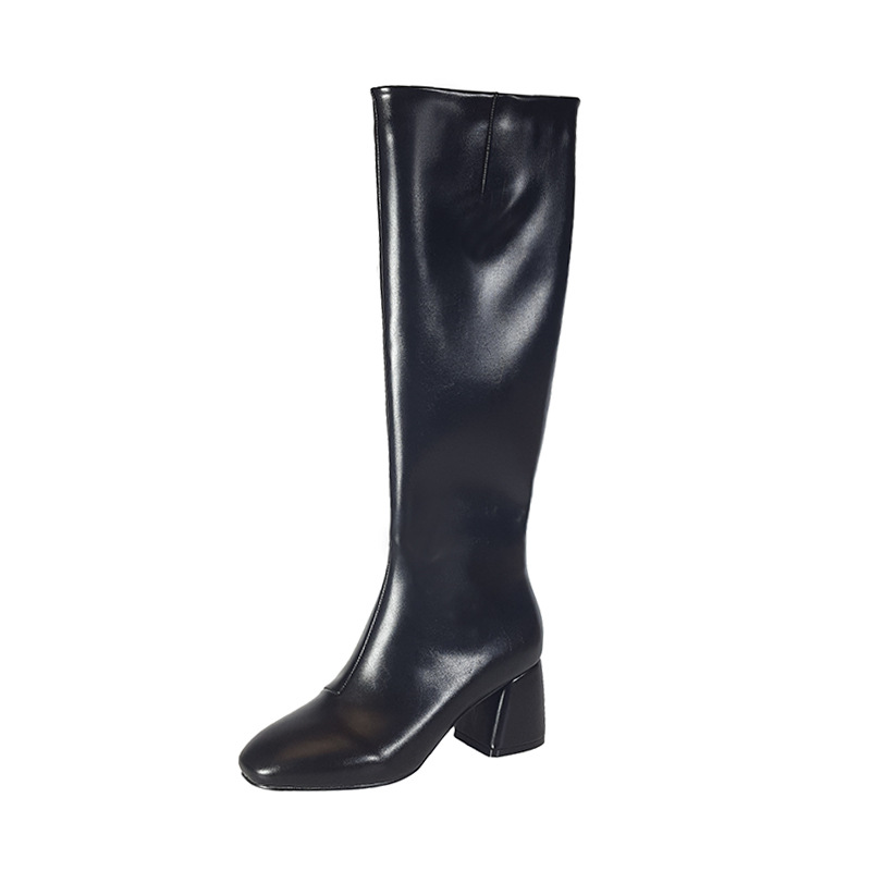 Autumn and winter new square head with long boots, boots, side zipper high cylinder knight motorcycle boots