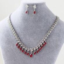 ba8fe202e0ea Envío gratis novia de la lágrima de circón cristal de piedras preciosas  pendientes collar de diamantes mujer nupcial de la boda .