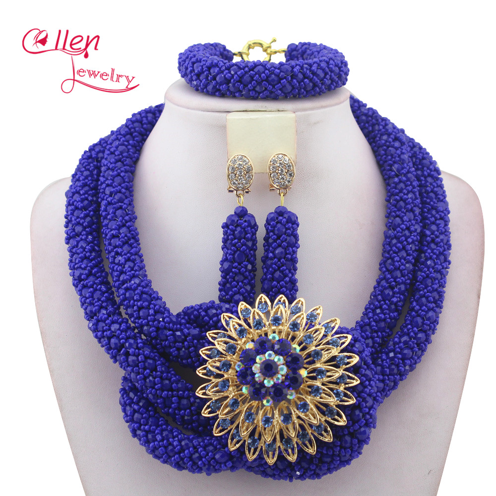 Stylish Royal Blue Nigerian Wedding African Beads Jewelry Set Handmade Indian Dubai Bridal Necklace Sets Free Shipping W12935Stylish Royal Blue Nigerian Wedding African Beads Jewelry Set Handmade Indian Dubai Bridal Necklace Sets Free Shipping W12935