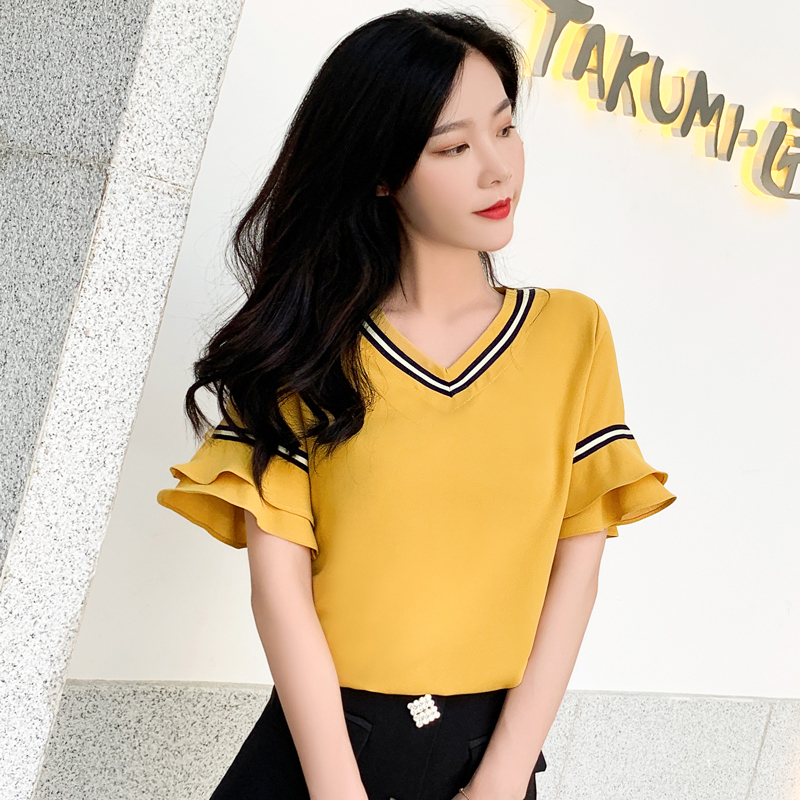 Yellow Chiffon Blouse Summer V Neck Flare Sleeve All match Stripe Office Blouse Elegant Kpop Chic Loose S L Women 39 s Shirt Femme in Blouses amp Shirts from Women 39 s Clothing
