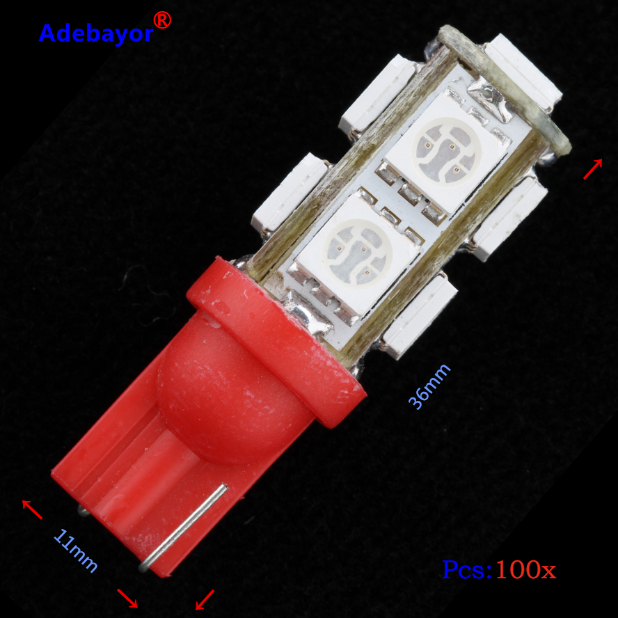<font><b>100X</b></font> <font><b>T10</b></font> 9 SMD 5050 led Car 194 168 192 W5W reading door Light Automobile Instrument Lamp Wedge Interior Bulbs 7colors image