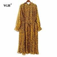 VGH Oversized Vintage Vestiti Dalle Donne Pieghettato Manica Lunga Asimmetrico Giallo Vestito Casuale Delle Signore di Autunno Tops Blusas Sciolti A4913
