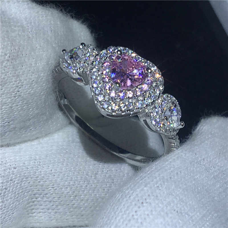 Сердце Форма кольца для 100% Реальный Soild 925 пробы серебряные ювелирные изделия фианит AAAAA Обручение обручальное кольцо кольца для мужчин и женщин