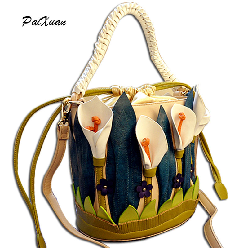 PACENTO Luxury brand Women Handbags Shoulder Bucket Italy Borse Braccialini Lilies Flower Messenger bag Cross Body