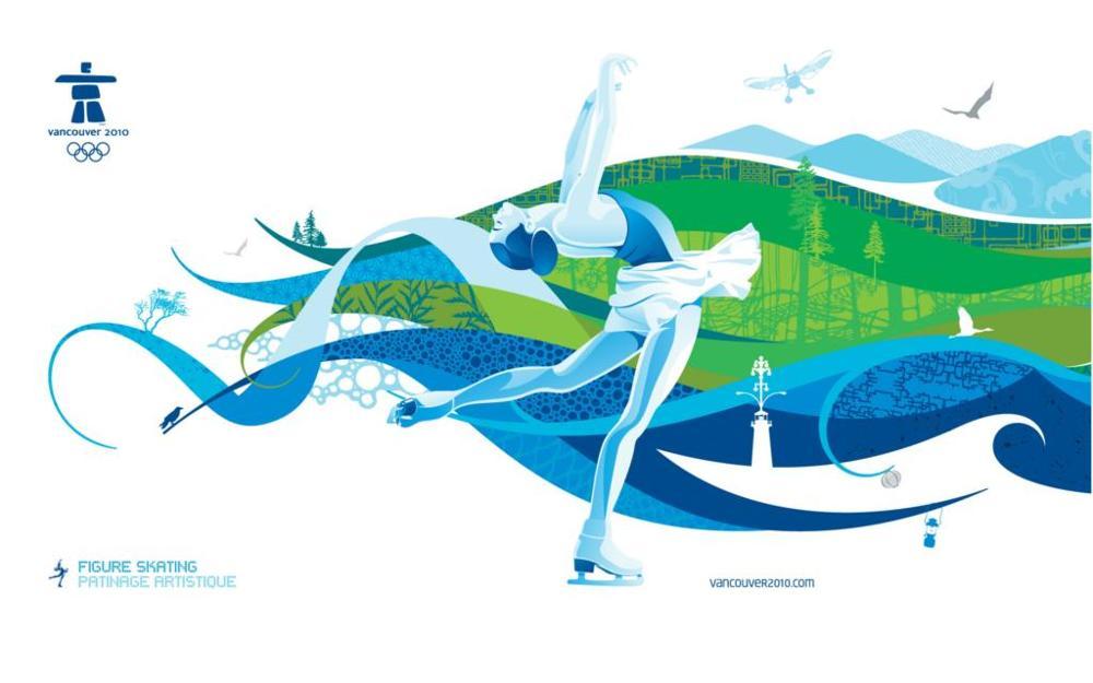 deportes juegos olmpicos de vancouver en patinaje artstico tamaos del cuadro de la lona impresin del cartel