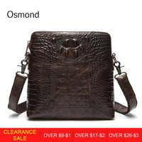 Osmond Genuine Leather Men Crossbody Messenger Bag Crocodile Pattern Leather Shoulder Bags Mens Handbag Male Business Bag