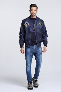 Image 3 - Autumn Apollo Thin 100th SPACE SHUTTLE MISSION MA1 Bomber Hiphop US Air Force Pilot Flight Korean College Jacket For Men