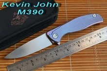 Kevin John M390 or S35VN blade Titanium Icebreaker F95 folding knife double row ceramic ball camping hunt pocket knife EDC tools