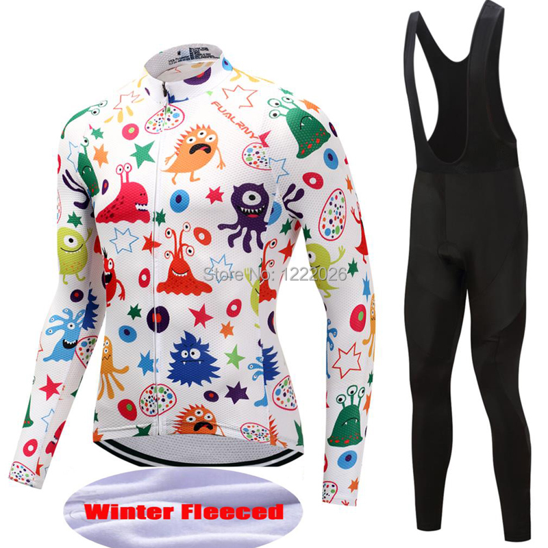 FUALRNY 2018 WinterThermal Fleece Cycling Jersey Set Long Sleeve Bicycle Clothing Maillot Equipacion Ciclismo Bike Pants Bib 9DFUALRNY 2018 WinterThermal Fleece Cycling Jersey Set Long Sleeve Bicycle Clothing Maillot Equipacion Ciclismo Bike Pants Bib 9D