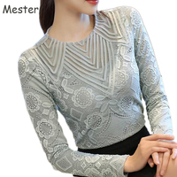 Women Elegant Long Sleeve Lace Blouse Crewneck Floral Lace Hollow Out Mesh Shirt Ladies Office Slim