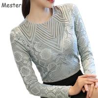 Women Elegant Long Sleeve Lace Blouse Crewneck Floral Lace Hollow Out Mesh Shirt Ladies Office Slim