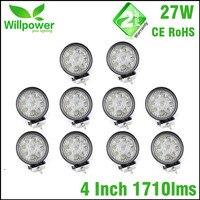 10pcs 4 Inch Led Light Bar 12v 24v 27w Led Work Light Spot Beam Offroad Driving