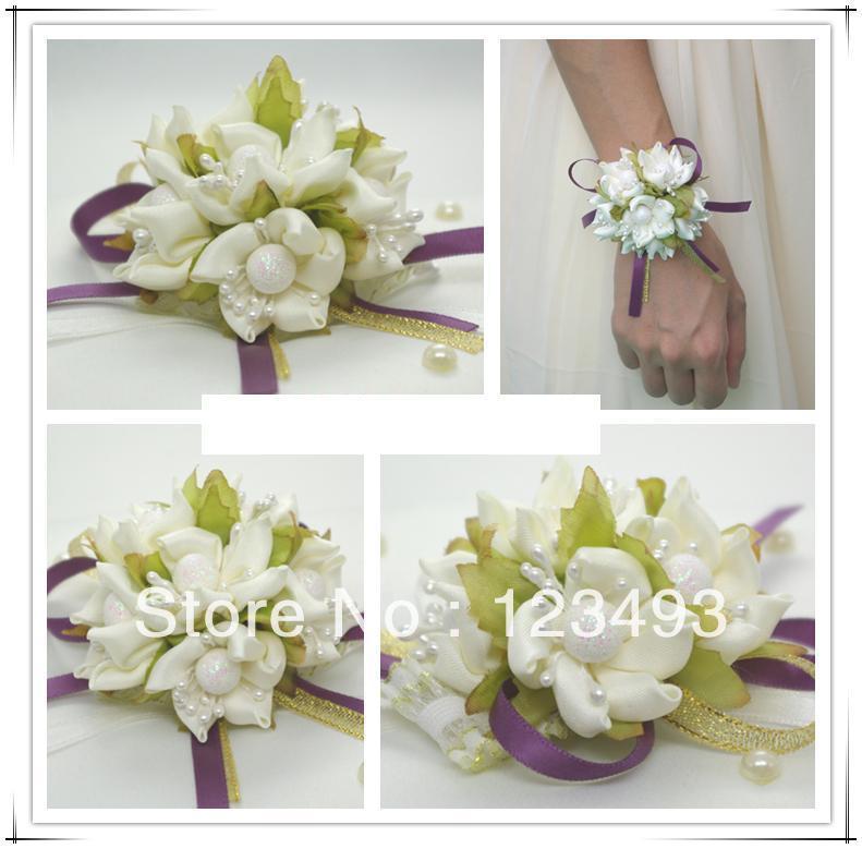 High quality white silk corsage wrist flower silk flowers for Aana decoration wedding accessories