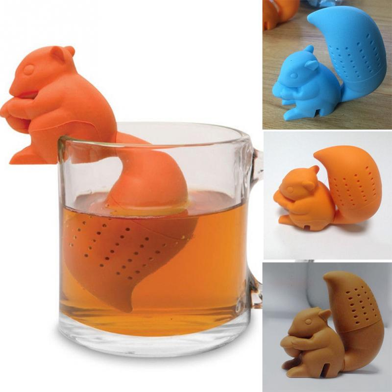 High Quality Cute Squirrel Shape Tea Infuser Loose Leaf Strainer Bag Mug Filter Friends Applied