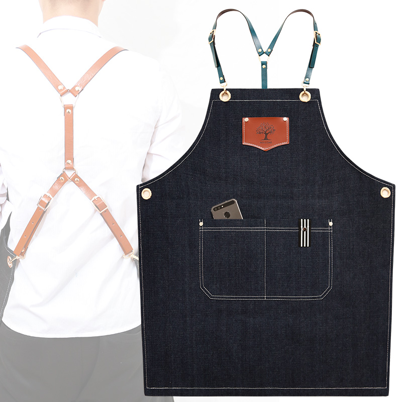 New Fashion Denim Aprons Cortex Apron For The Kitchen Unisex Work Delantal Bartender Pinafore Bib Pocket Gift For Man Smocks