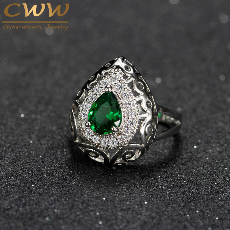 CWWZircons Swiss Cubic Zirconia Setting Water Drop Shape Women Wedding Engagement Ring With Created Emerald Green Stone R085