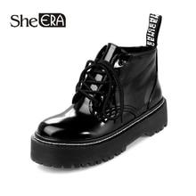 New Fashion Women Boots Black Women Ankle Boots Round Toe Lace-Up Boots Platform Shoes Classic Women Shoes She ERA