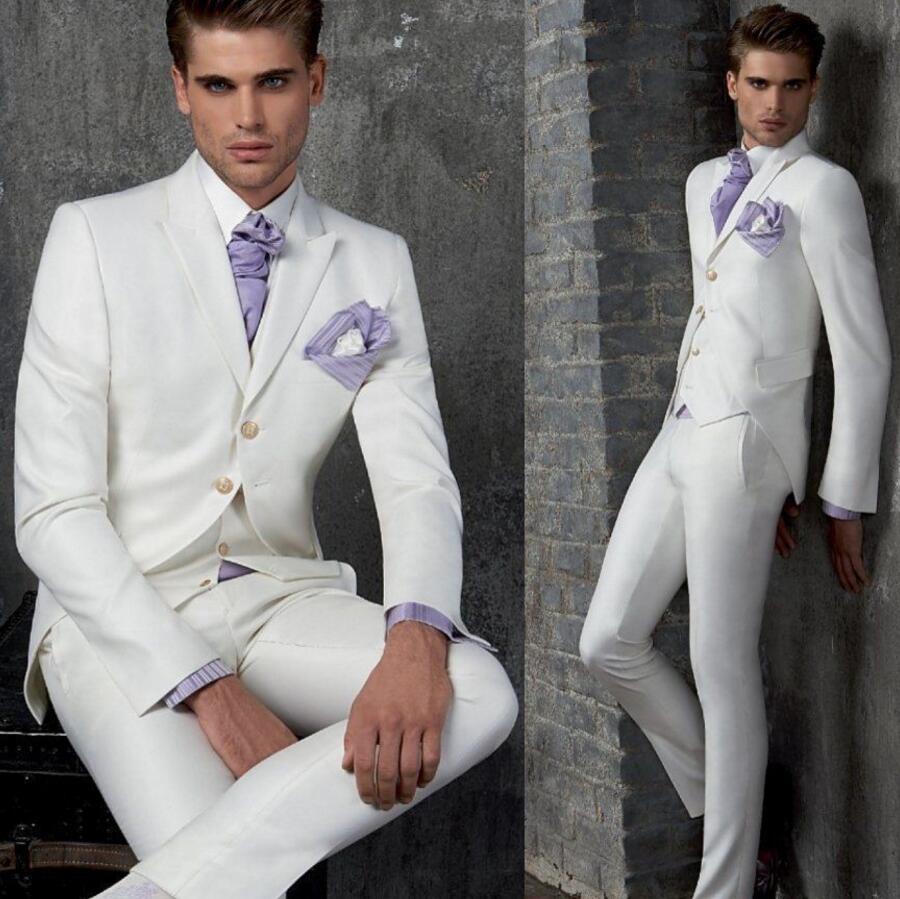 new cheap 2018 shoes outlet store sale US $81.75 25% di SCONTO New Custom Made Bianco Uomo Abiti Da Sposa Sposo  Smoking Groomsmen Formale Del Vestito Coat + Pants + Maglia in tre pezzi-in  ...