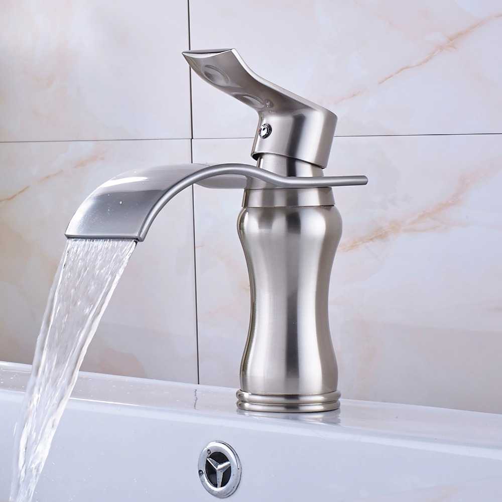 все цены на Luxury Waterfall Spout Brushed Nickel Bath Basin Faucet Single Handle One Hole Mixer Tap онлайн