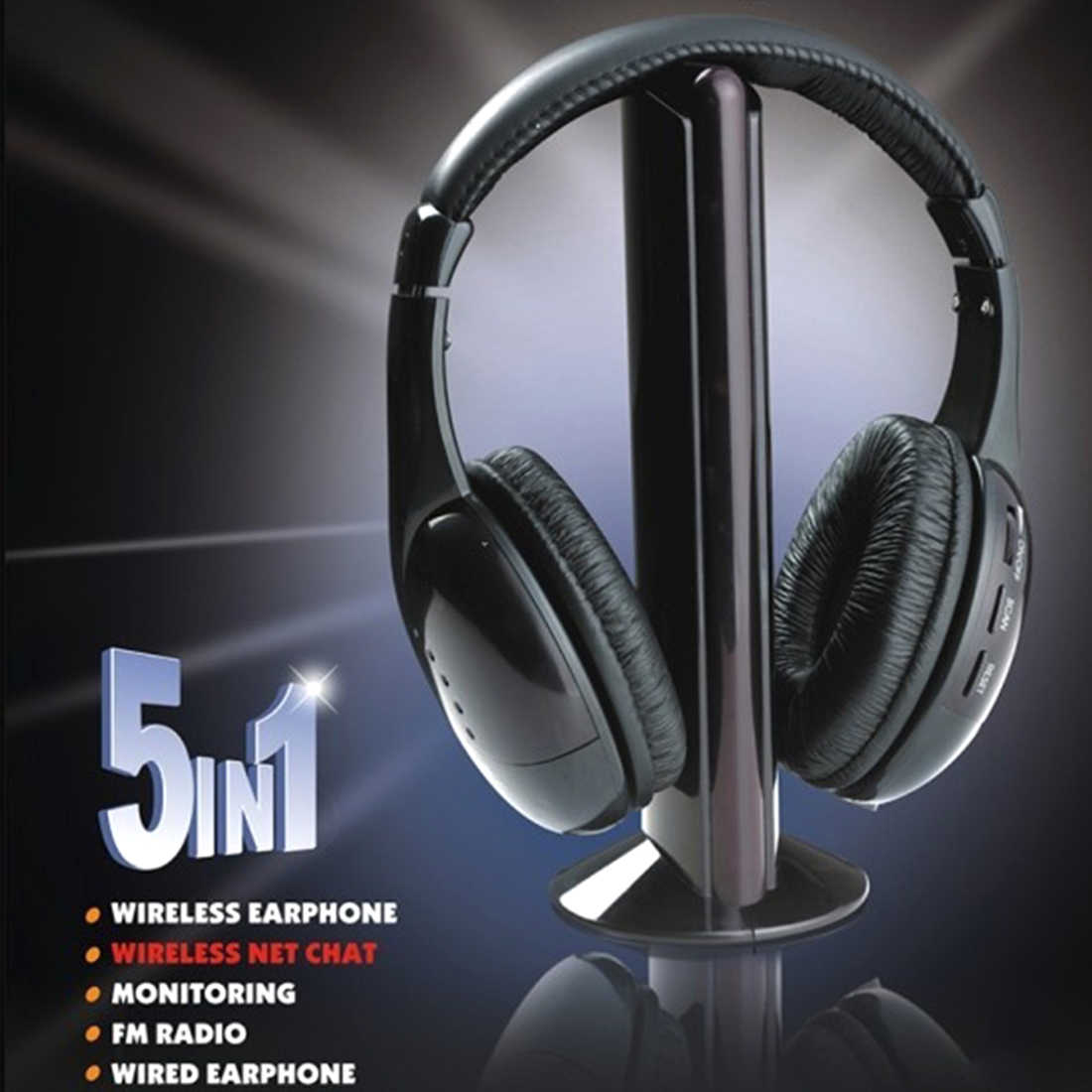 Marsnaska Kualitas Tinggi 5 In 1 Nirkabel Headphone Menonton TV Earphone Cordless Headset untuk MP3 PC Stereo TV FM Ipod