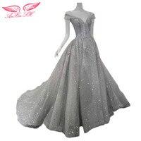 AnXin SH Grey Lace Evening Dress Vintage Shinning Grey Princess Evening Dress Grey Silver Vintage Evening