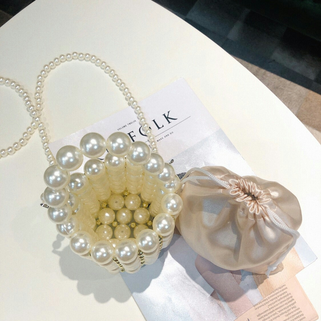 Marca artesanal sacos de pérola feminina cristal