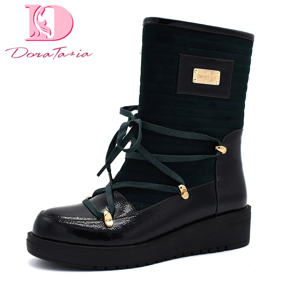 Doratasia brand new corss-tied warm winter boots woman shoes plus size 42 warm comfortable shoes woman mid-calf snow boots women plus size 34 47 new autumn winter plush women boots mid calf snow boots woman keep warm mother botas butterfly flats roman shoes