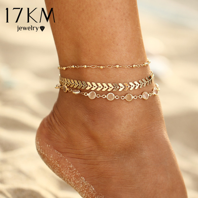 8084161814a 17KM Crystal Sequins Anklet Set For Women Beach Foot jewelry Vintage  Statement Anklets Boho Style Party Summer Jewelry 3Pcs lot