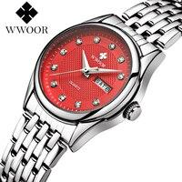 WWOOR Fashion Brand Red Women Watches Waterproof Brief Date Display Ladies Wrist Watch Elegant Stainless Steel