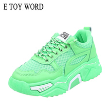 E TOY WORD Women Sneakers Daddy Shoes women breathable sneakers Fashion Thick sole Ladies Platform Casual Sports