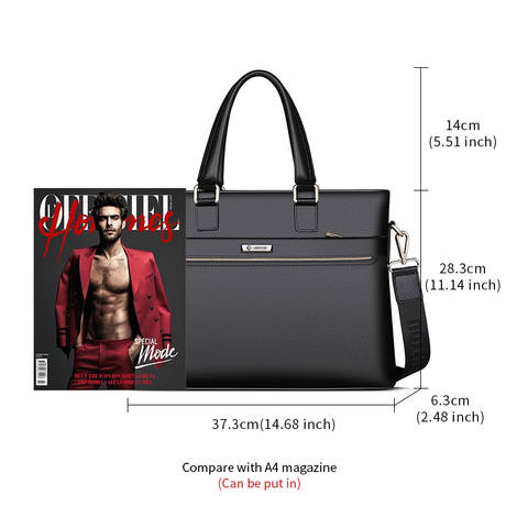 Laorentou Men Briefcase Cow Leather Crossbody Bags Man Totes Shoulder Bag Work Handbag Bags Brand High Capacity Business Bags Islamabad