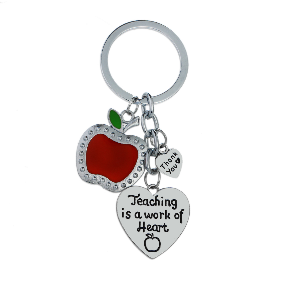 Personality Keyring Red Apple Fruit Teaching Is A Work Of Heart Keychain Thanksgiving Teachers Day School Jewelry Bags Keyfob