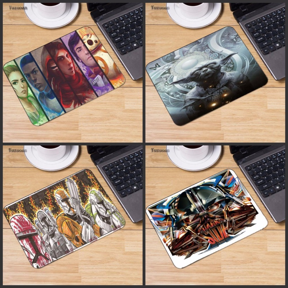 Yuzuoan Star Wars Laptop Computer Mousepad Size for Decorate Your Desk Non-Skid Rubber Pad No Overlock Edge photo pictures DIY