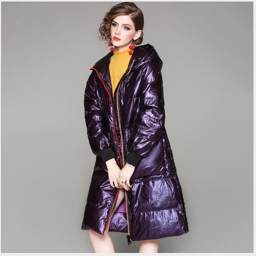 Nouvelle Bas D hiver Mode Vers Femme Veste 2018 Le Parka Capuche Manteaux De  Chaud Lâche Section Casual Brillant ... 64924365a02