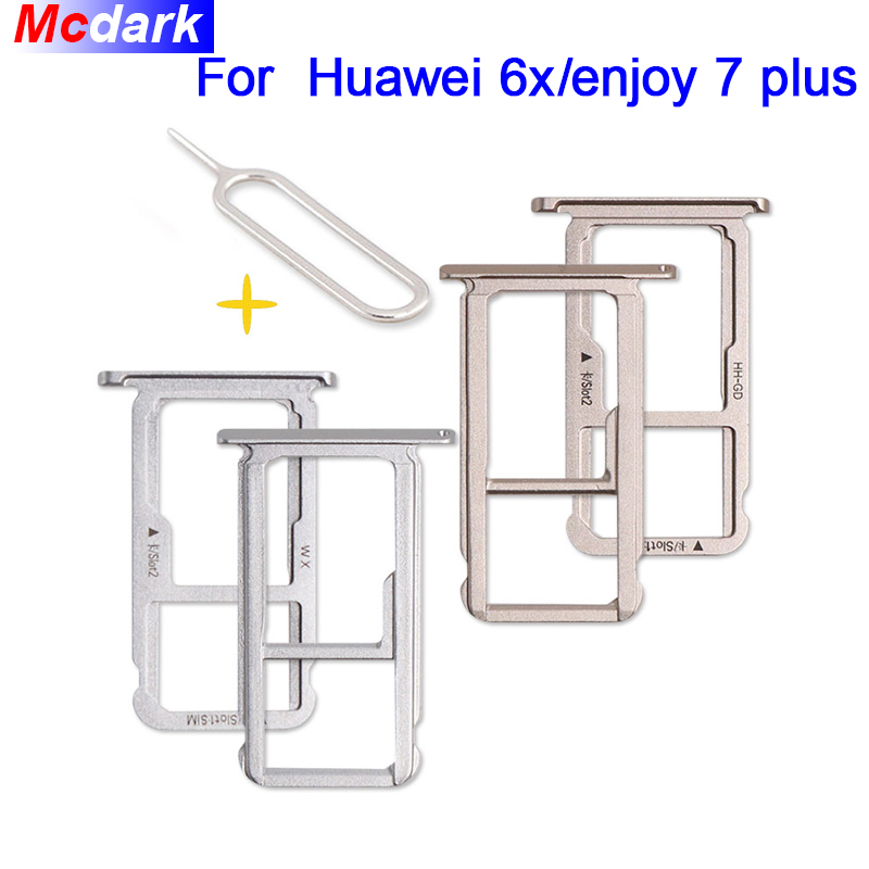 Mcdark For Huawei 6x enjoy 7 plus Sim Card Holder Tray Card Slot  SD Card Slot Holder Adapter With Take Sim Card Eject Tool