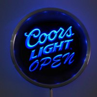 Rs 0027 Coors Light OPEN LED Neon Round Signs 25cm 10 Inch Bar Sign With RGB