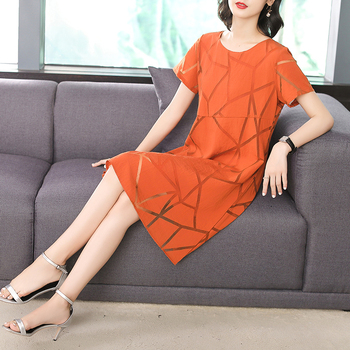 Casual Orange Black Solid Color Beach Summer Dress Women 2018 Chiffon O Neck Short Sleeve New Loose Midi Dresses