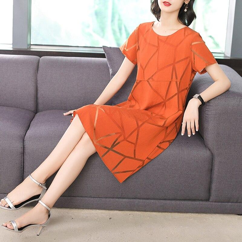Casual Orange Black Solid Color Beach Summer Dress Women 2018 Chiffon O Neck Short Sleeve New Loose Midi Dresses